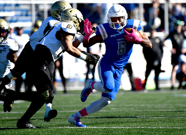 10/19/2019 Mike Orazzi | StaffrCentral Connecticut State University 's Emanuel Scott (6) during Saturday's football game with Bryant in New Britain.