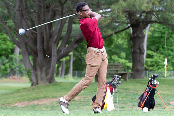 05/29/19 Wesley Bunnell | Staff New Britain golf competed along with Berlin and Goodwin Tech in the Stan Pisk Memorial Golf Tournament on Wednesday afternoon at Stanley Golf Course. New Britain's Dylan Washington.
