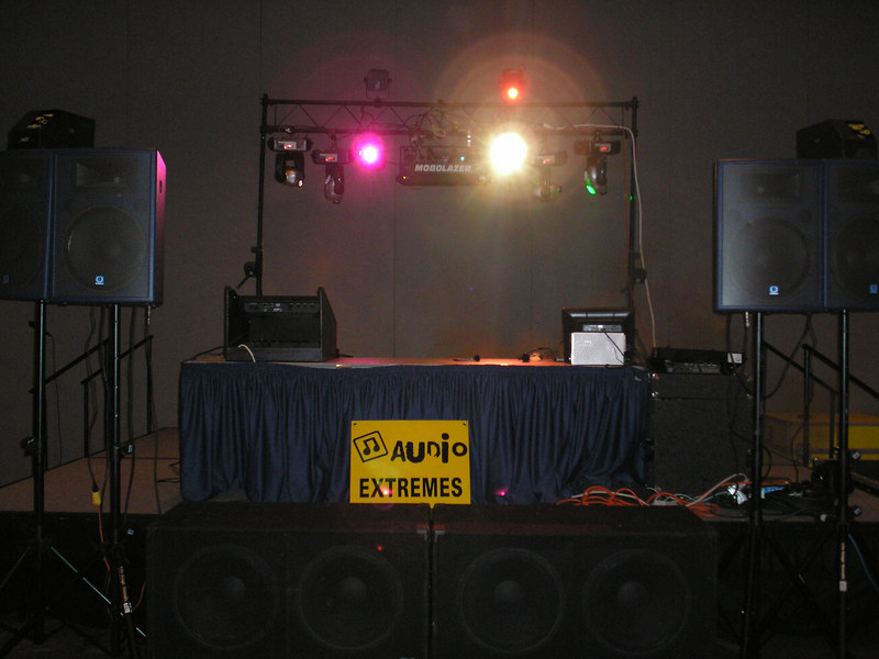 4 dual 18's 4 turbosound 15's & horn 10 foot truss 2 DMX Boards 4 Yoke Fixtures 4 Color Changers 1 250mw Mobolazer Blue Green Turquise 2 Bubble Machines 12000 watts QSC Power 10 Foot Truss System  (this was before i put up the 1200's)