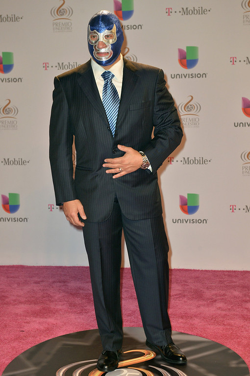 ". Blue Demon arrives at the 25th Anniversary Of Univision\'s ""Premio Lo Nuestro A La Musica Latina\"" on February 21, 2013 in Miami, Florida.  (Photo by Gustavo Caballero/Getty Images for Univision)"