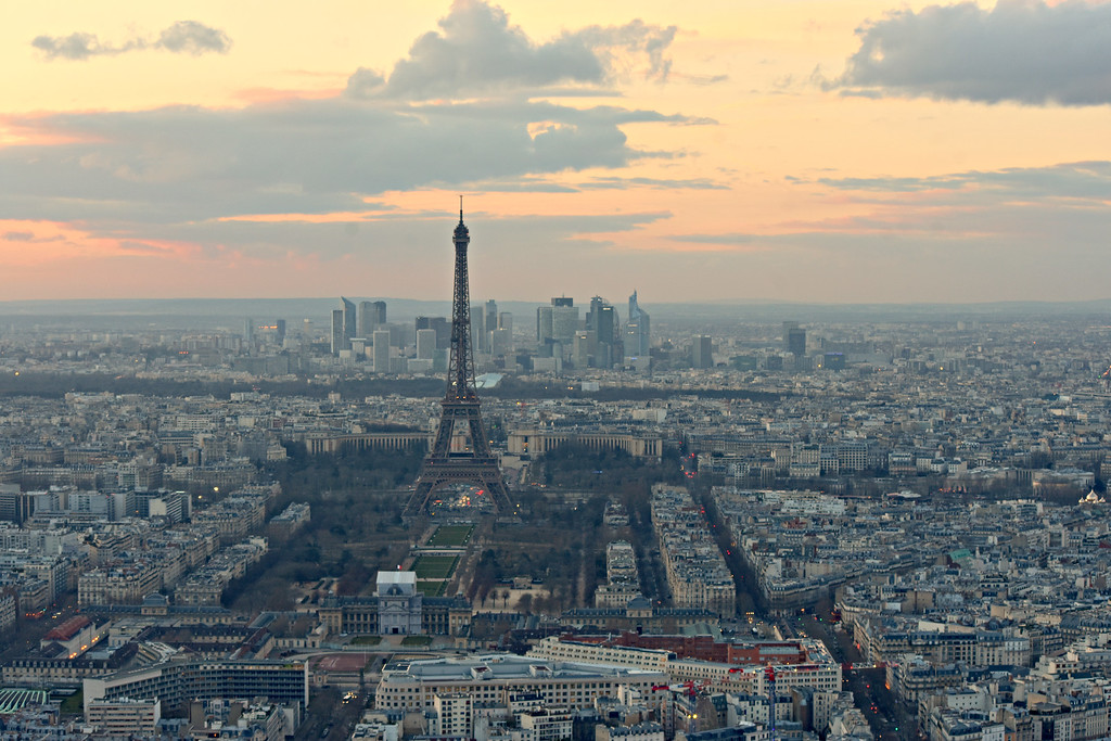 View of Place du Trocadero from the Eifffel Tower in Paris, France