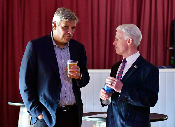 9/6/2019 Mike Orazzi | StaffrFormer Republican candidate for governor Bob Stefanowski talks with David Sullivan, New Fairfield, who is seeking the Republican nomination to challenge U.S. Rep. Jahana Hayes, during the 138th Annual Crocodile Club Dinner at Lake Compounce on Friday.