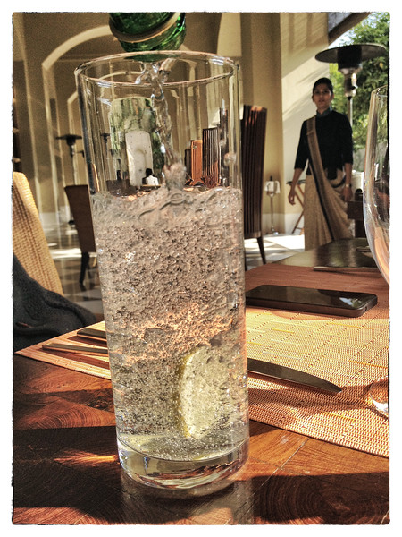 Delhi, India, Feb 2013 -    Imported sparkling water being served at Trident, a five star hotel in  Gurgaon -  an up-and-coming business and residential area in the greater new delhi region.   Images for the Global Post's special report -   The Great Divide:  Global income inequality and its cost    Photograph:  Sami SIVA