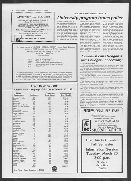 Daily Trojan, Vol. 91, No. 44, March 17, 1982