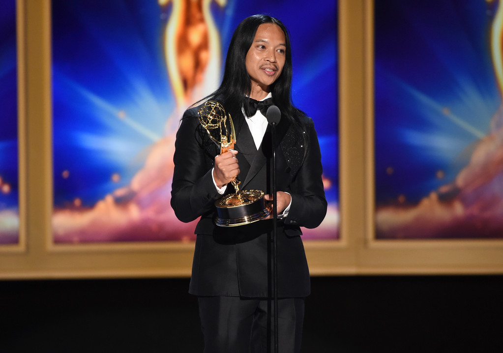 ". Zaldy Goco accepts the award for outstanding costumes for a variety nonfiction or reality programming for ""Rupaul\'s Drag Race - 10s Across the Board/ Costumes: RuPaul\'s Gowns\"" during night two of the Television Academy\'s 2018 Creative Arts Emmy Awards at the Microsoft Theater on Sunday, Sept. 9, 2018, in Los Angeles. (Photo by Phil McCarten/Invision/AP)"