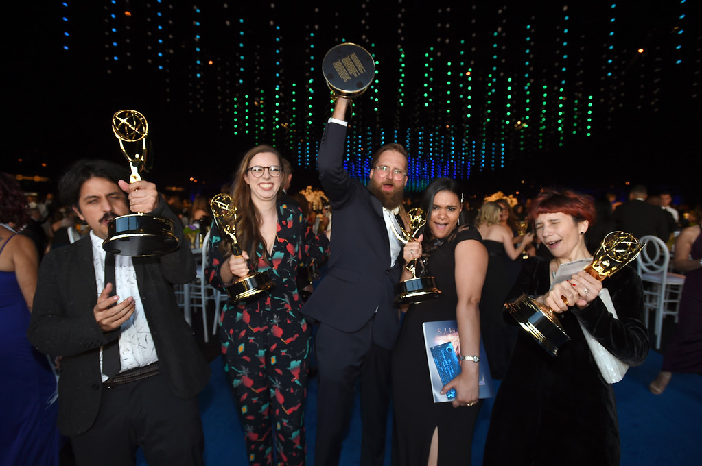. Isam Prado, from left, Barbara Benas, Mike Perry, Erica Perez, and Maya Edelman attend the Governors Ball during night two of the Television Academy\'s 2018 Creative Arts Emmy Awards at the Microsoft Theater on Sunday, Sept. 9, 2018, in Los Angeles. (Photo by Jordan Strauss/Invision/AP)