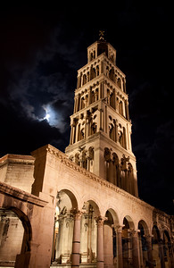 Cathedral St. Duje in the ancient Roman Diocletian Palace and the full moon. Split, Croatia.