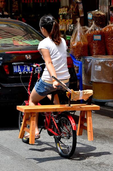 Hauling a fungus chopper on a bike