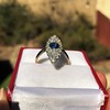 2.93ct Antique Diamond and Sapphire Navette Dinner Ring 19