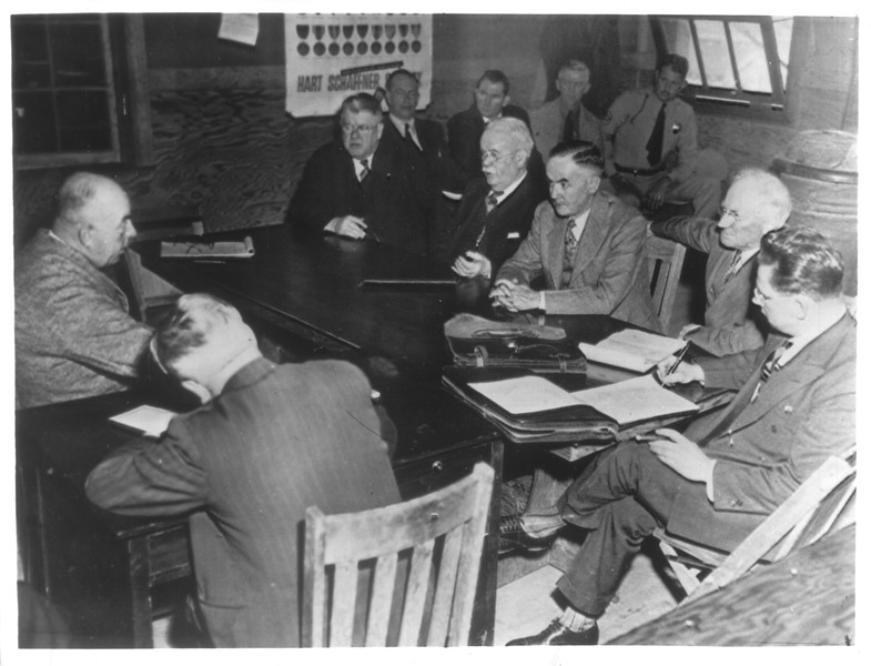"""""""Shown is the State Senate Committee as investigation of conditions at the Tule Lake Japanese internment center began"""" -- caption on photograph"""