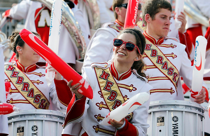 . Sara Hinds of Nebraska Cornhuskers marching band enjoys the pregame activities before the Capital One Bowl against the Georgia Bulldogs in Orlando, Florida January 1, 2013.     REUTERS/Pierre DuCharme