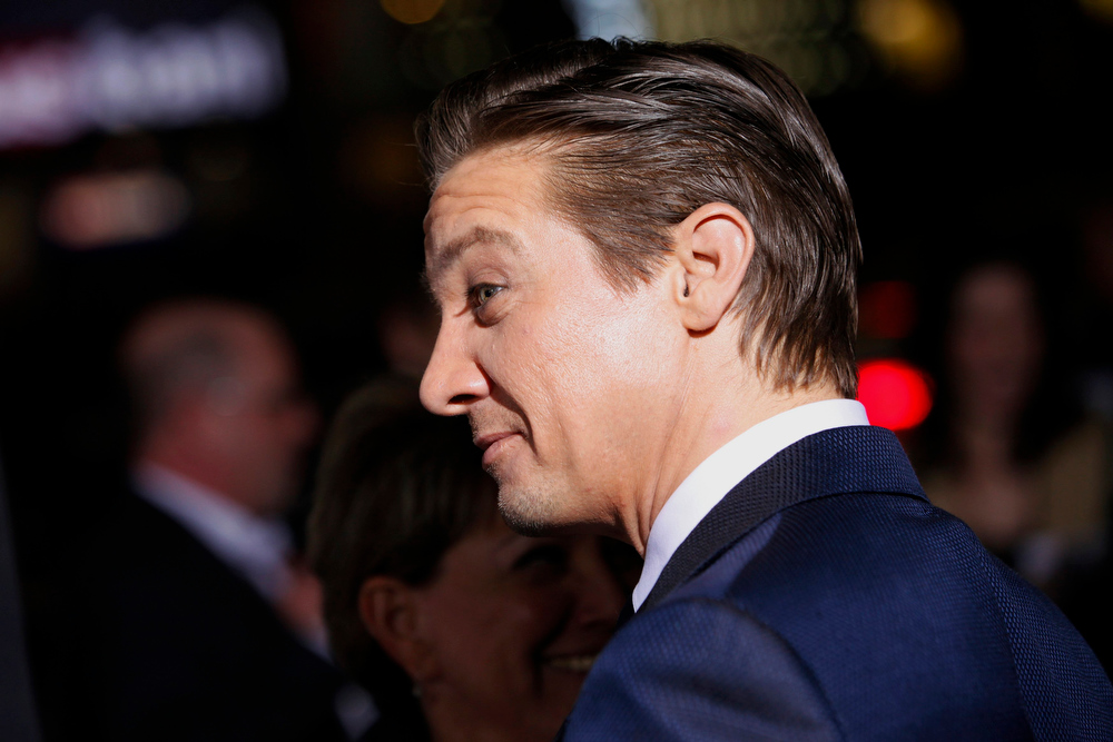 Description of . Actor Jeremy Renner arrives at the premiere of the film