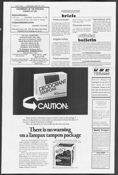 Daily Trojan, Vol. 71, No. 38, April 13, 1977