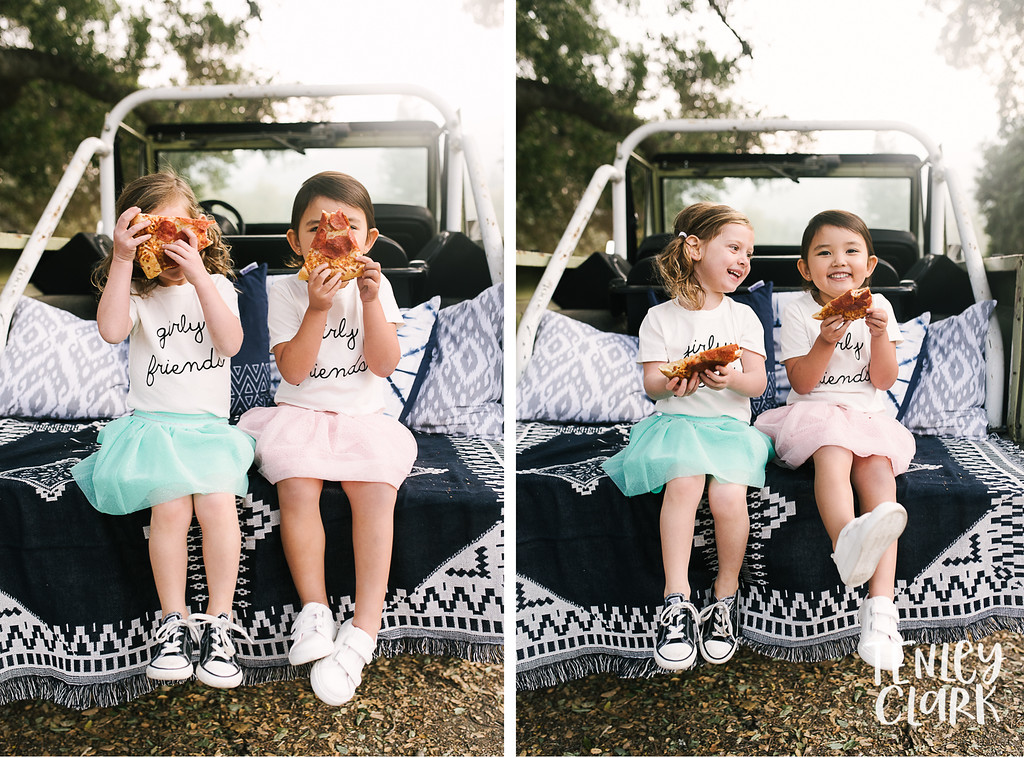 Little girl friends eating pizza in back of jeep. Playful kids fashion commercial brand shoot  for B+C California a kids t-shirt company in Bay Area by Tenley Clark Photography.