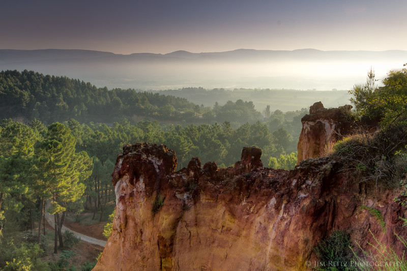 Early morning view of Roussillon, just a block from our hotel.