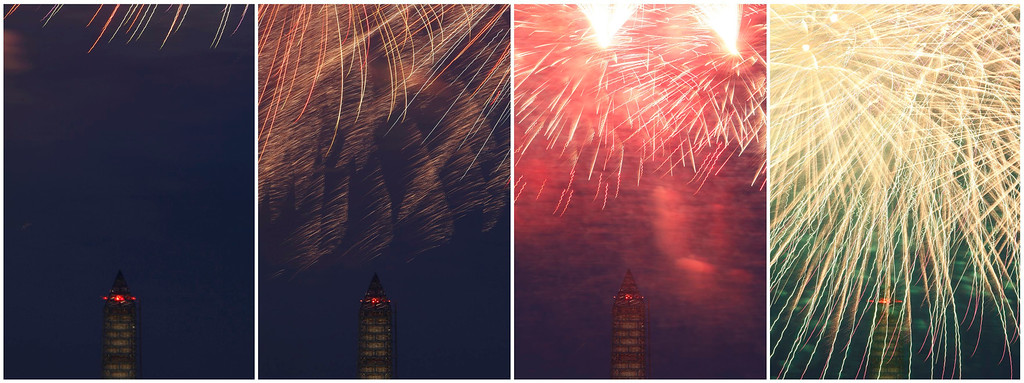 . A combination photo shows Independence Day fireworks lighting the sky over the Washington Monument in Washington, July 4, 2013. REUTERS/Jonathan Ernst
