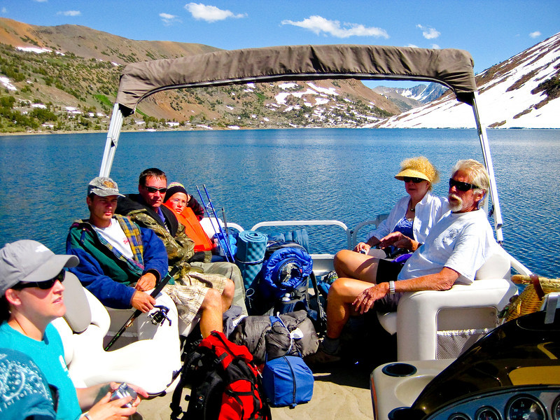Taking water taxi back to Saddlebag Lake Resort