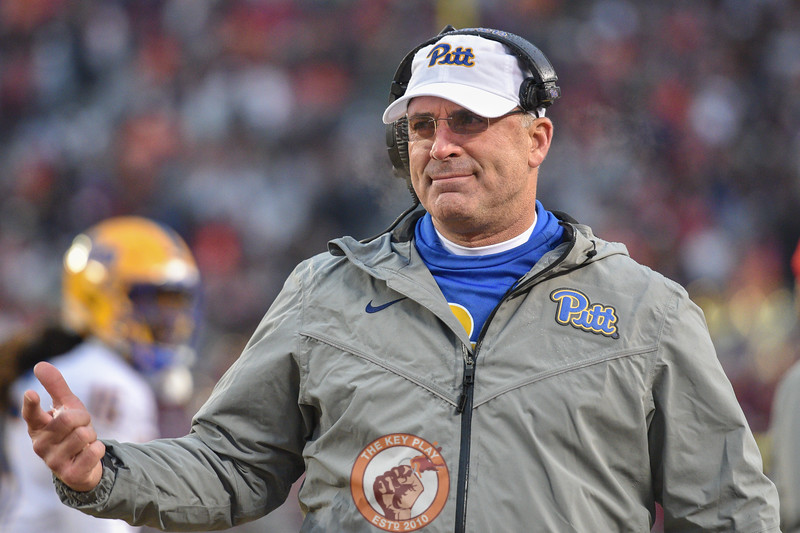 Pat Narduzzi questions a pass interference call during Saturday's game between Virginia Tech and Pitt in Lane Stadium. (Photo: Cory Hancock/TheKeyPlay.com)