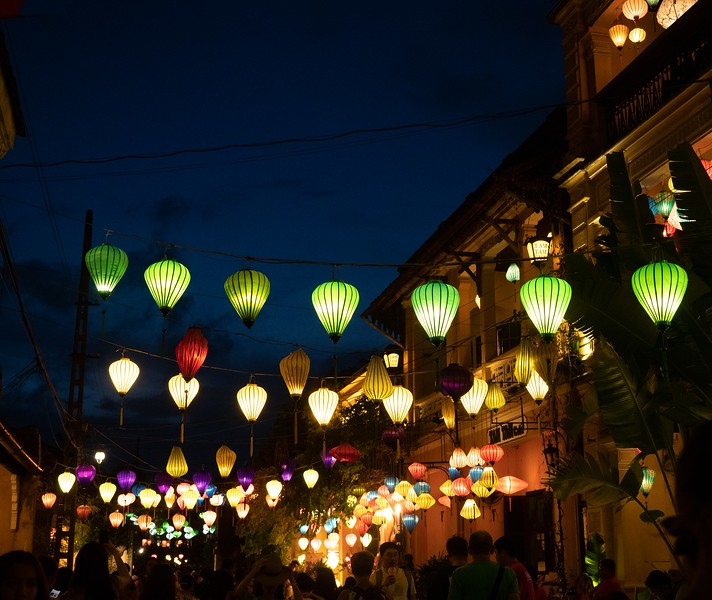 A night view of Tran Phu Street with Lanterns in Hoi An Vietnam