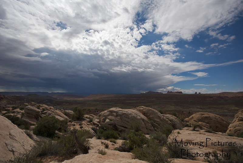 Distant storm over Moab, Utah