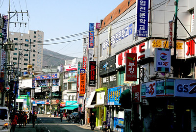 A typical street view in Busan, South Korea