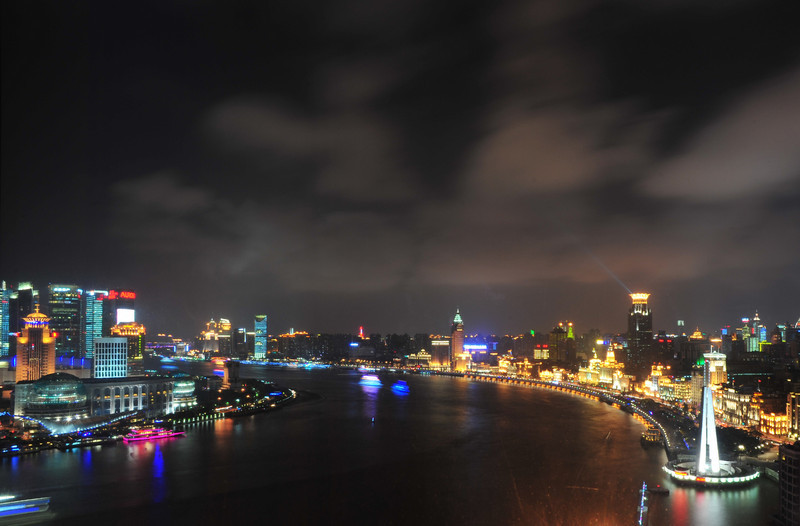 The Huangpu river, with Pudong on the East side and The Bund on the Western bank.  (C) 2010 Brian Neal