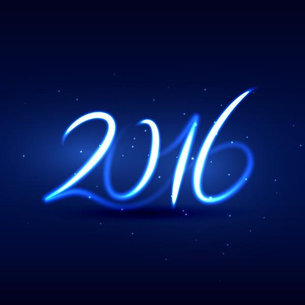 neon style happy new year 2016