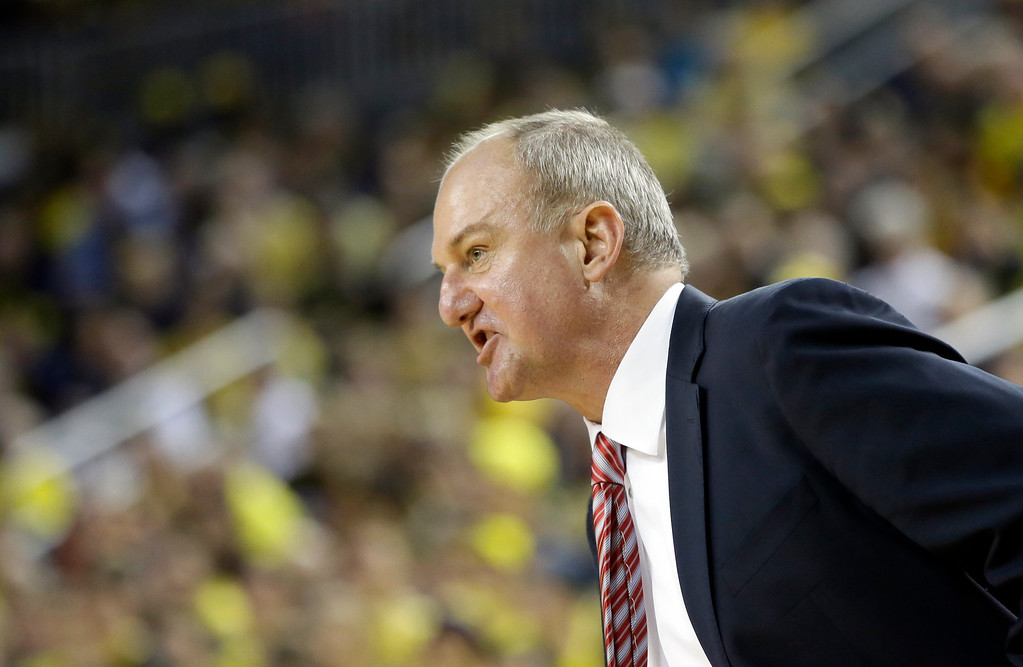. Ohio State head coach Thad Matta watches from the bench during the second half of an NCAA college basketball game against Michigan, Sunday, Feb. 22, 2015 in Ann Arbor, Mich. Michigan defeated Ohio State 64-57. (AP Photo/Carlos Osorio)