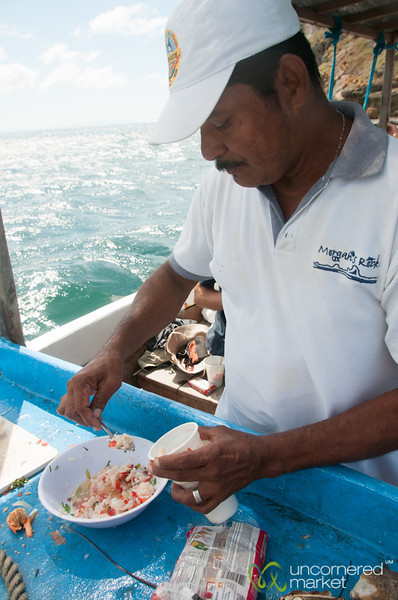 Fresh Lobster Ceviche on the Boat - Morgan's Rock, Nicaragua