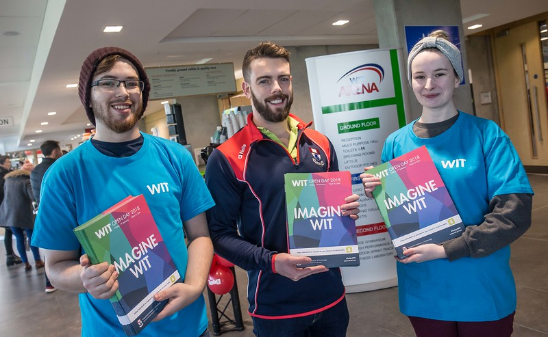 Wikus Roux, Damien O'Connell and Michaela Redmond during the Waterford Institute of Technology Schools' Open Day at the WIT Arena. On Saturday, 20 January, WIT is running another open day, the #StudyatWIT Open Day which will have information available on all courses available across WIT's schools of Lifelong Learning, Humanities, Engineering, Science & Computing, Health Sciences, Business. Picture: Pat Moore