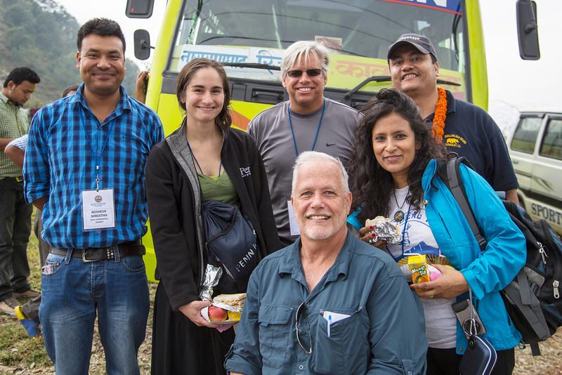 Roshesh Shresha, Christina Jacovides, Kevin Auger, Sita Rupakheti, Suraj Thaga, Peter Galpin (front)