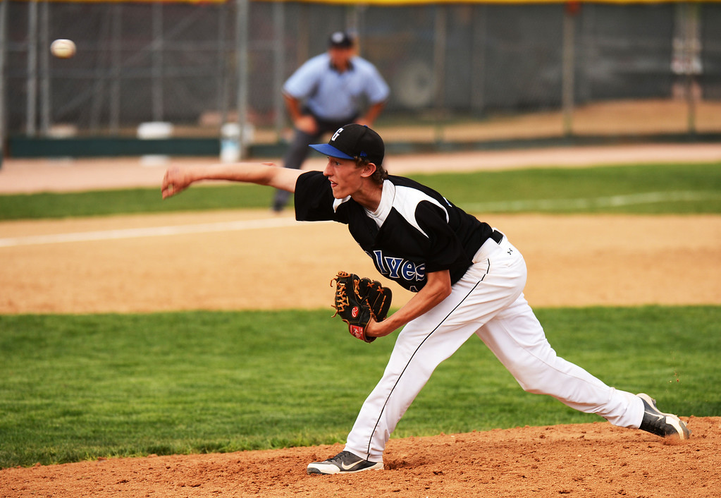 . DENVER, CO. - MAY 17 : Tanner Thomas of Grandview High School is pitching against Rocky Mountain High School during the 5A playoff game at All City Field. Denver, Colorado. Grandview won 9-2. May 17, 2013. (Photo By Hyoung Chang/The Denver Post)