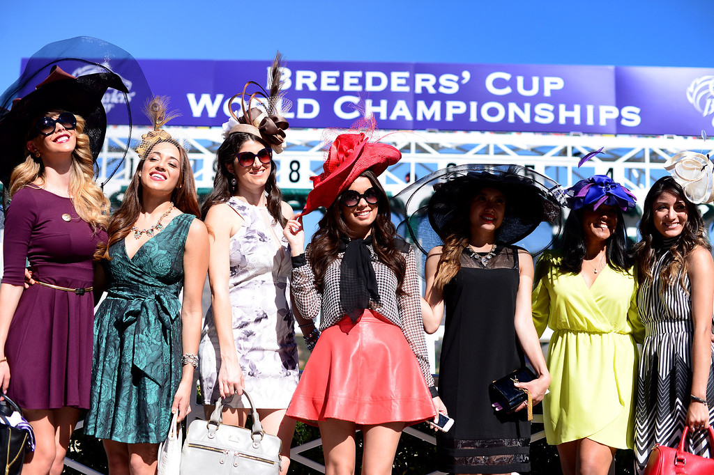 . Fashion bloggers gather during the Breeders\' Cup at Santa Anita Park in Arcadia Friday, November 1, 2013. (Photo by Sarah Reingewirtz/Pasadena Star-News)