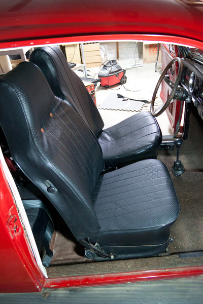 Passenger seat completed, back in car