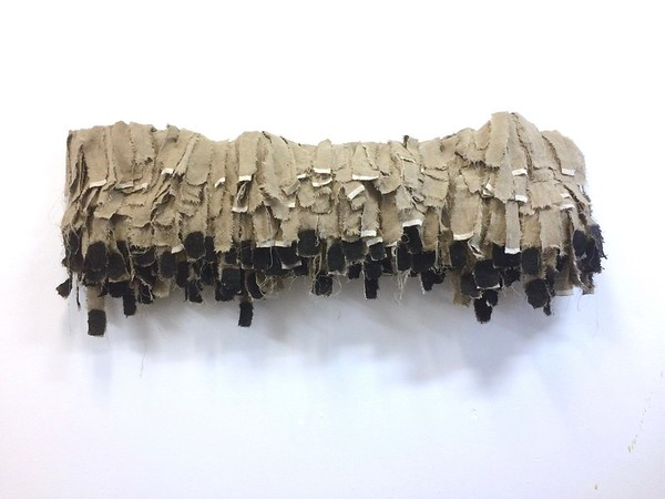 """Shaman's Cloak-Iorillo, 24""""x60""""x10"""" bamboo ash and beeswax on torn raw linen on steel armature"""
