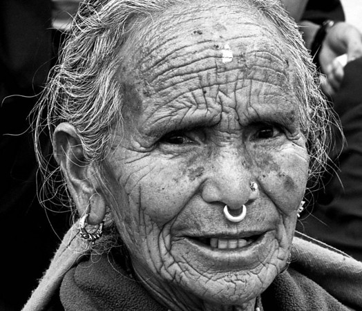 Old Hindu woman in Kathmandu, Nepal.