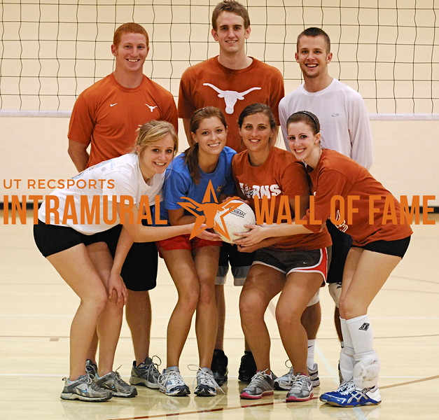 FALL VOLLEYBALL Coed A Runner Up  Hitlist  Front Row: Hope Yarrow, Erin Cutchen, Meagan Williams, Teresa Guerra Back Row: Anthony Winn, Chris Sanders, Nicholas Bergstrom