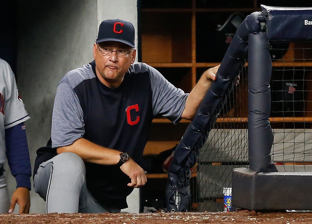 . Cleveland Indians manager Terry Francona watches play against the New York Yankees from the dugout in Game 4 of baseball\'s American League Division Series, Monday, Oct. 9, 2017, in New York. (AP Photo/Kathy Willens)