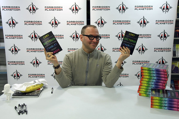 """Cory Doctorow signing """"Rapture of the Nerds"""""""