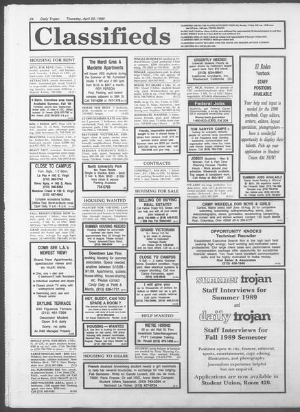 Daily Trojan, Vol. 108, No. 62, April 20, 1989