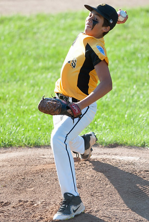 08/23/18 Wesley Bunnell | Staff The Forestville Pirates vs the Edgewood Cubs in the Bristol Little League City Series on Thursday evening at Frazier Field. Pirates pitcher Gabe Paghense (4)