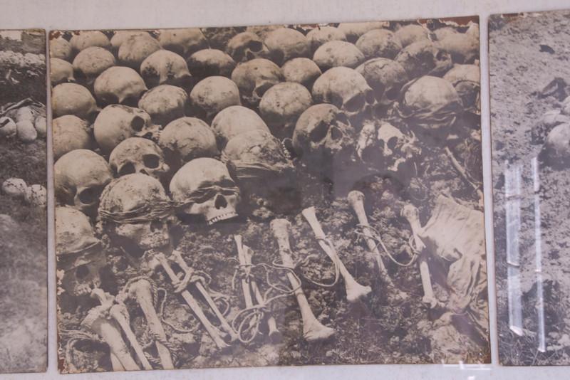 Photo of Skulls found on grave sites in Toule Seng Prison