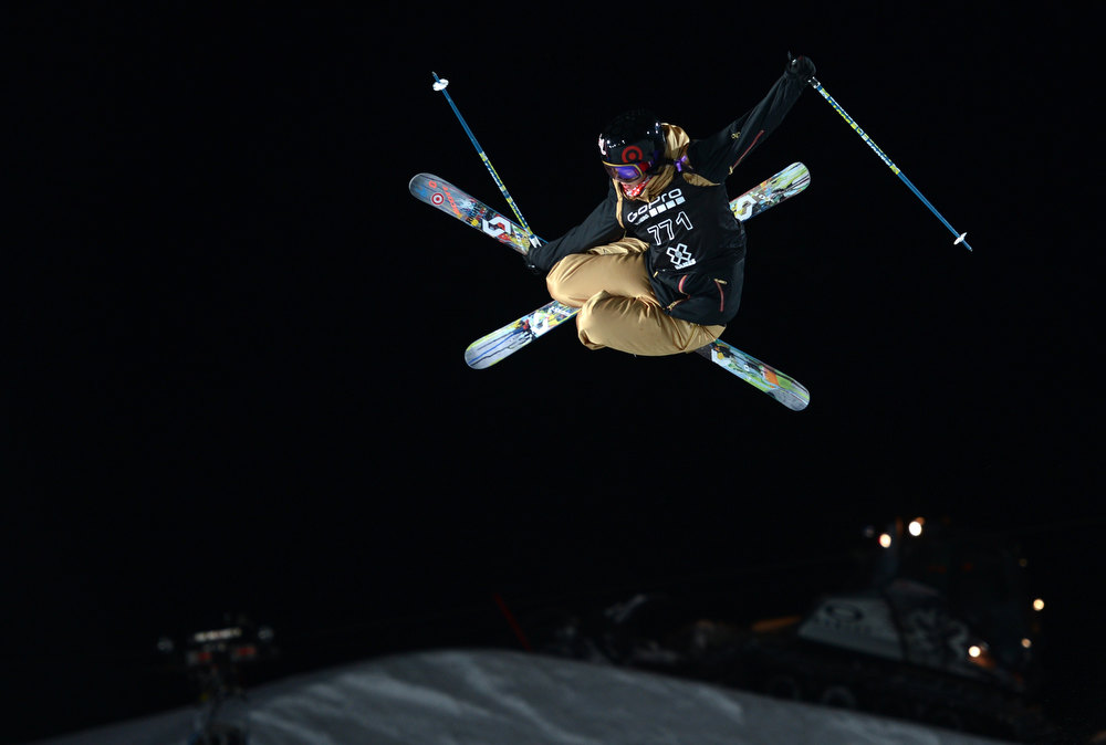 . ASPEN, CO. - JANUARY 25:  Roz Groenewoud catches air during the Women\'s Ski SuperPipe Final, January 25, 2013, at the 2013 Winter X Games at Buttermilk Mountain in Aspen. (Photo By RJ Sangosti / The Denver Post)