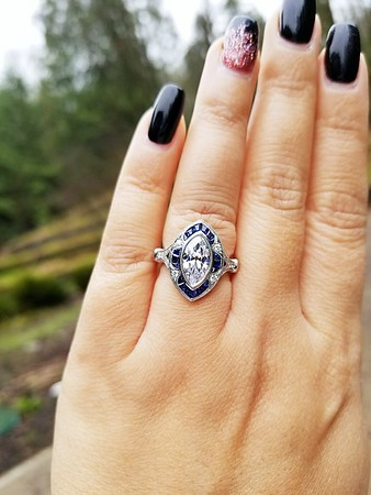 """The """"Iris"""" Calibre Cut Sapphire Halo - Featuring a 1.48ct Vintage Marquise Diamond"""