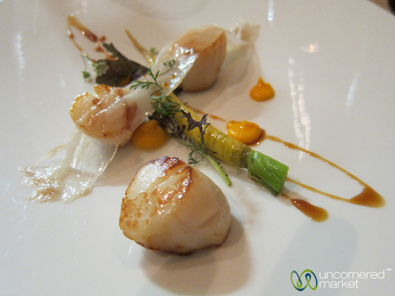 Aniar Tasting Menu - Scallops with Carrot and thin slice of lard. Galway, Ireland