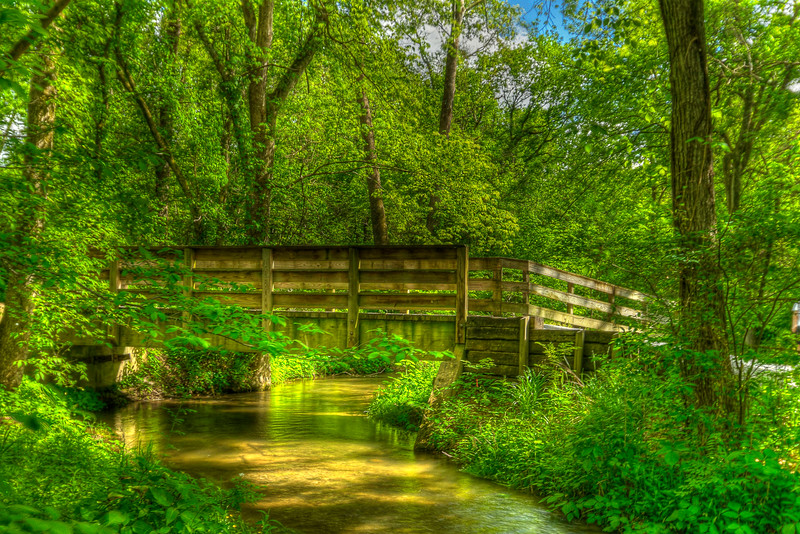A footbridge crosses a small side-stream of the Watauga River at Sycamore Shoals State Historic Park in Elizabethton, TN on Friday, May 4, 2012. Copyright 2012 Jason Barnette