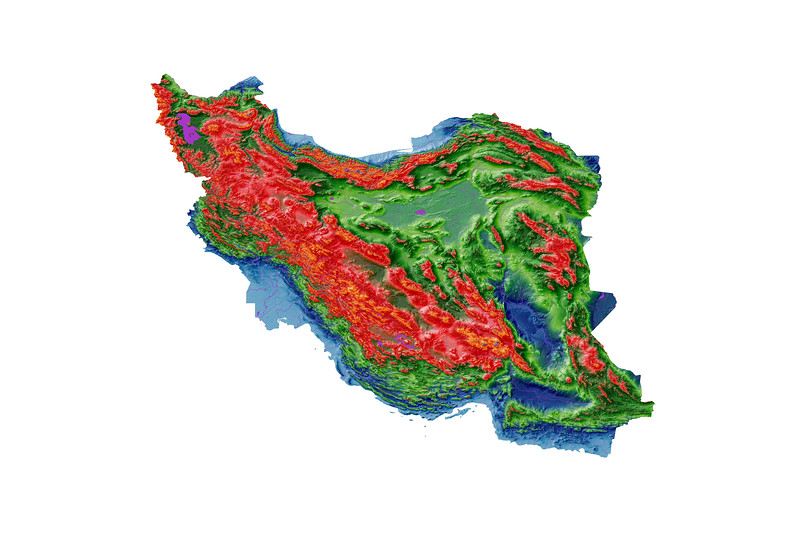 Elevation map of Iran