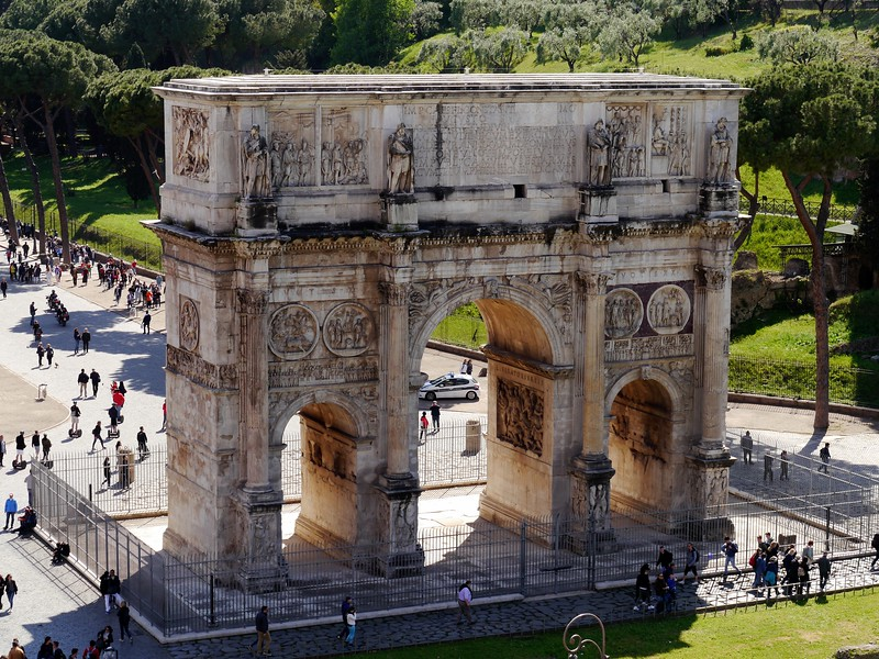 Arch of Constantine from the Colosseum upper levels.