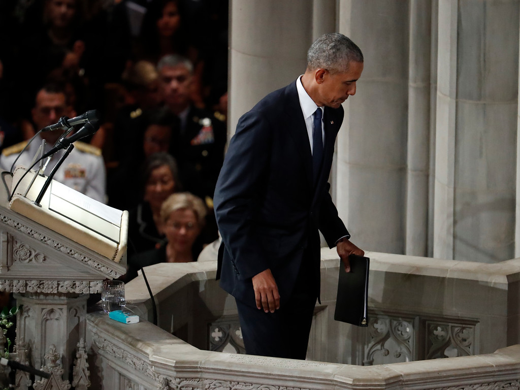 . Former President Barack Obama finishes speaking at a memorial service for Sen. John McCain, R-Ariz., at Washington National Cathedral in Washington, Saturday, Sept. 1, 2018. McCain died Aug. 25, from brain cancer at age 81. (AP Photo/Pablo Martinez Monsivais)