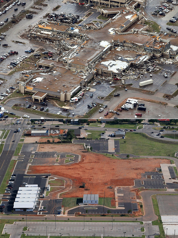 . This aerial photo combination shows the damage to the Moore Medical Center Emergency Services on May 21, 2013, after a massive tornado hit Moore, Okla., the day before, top, and the same view on May 15, 2014, bottom. (AP Photo)